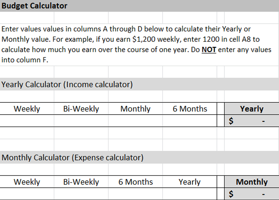 yearly budget calculator